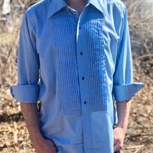 5be1d3e3 Blue Tuxedo Shirt Men's Button Down Vintage